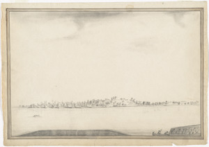 [The burnt ruins of Charlestown from across the Charles River]
