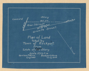 Plan of land taken by Town of Rockport from estate of Clarissa Story