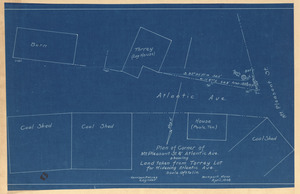 Plan of corner of Mt. Pleasant St. & Atlantic Ave. showing land taken from Torrey lot for widening Atlantic Ave.