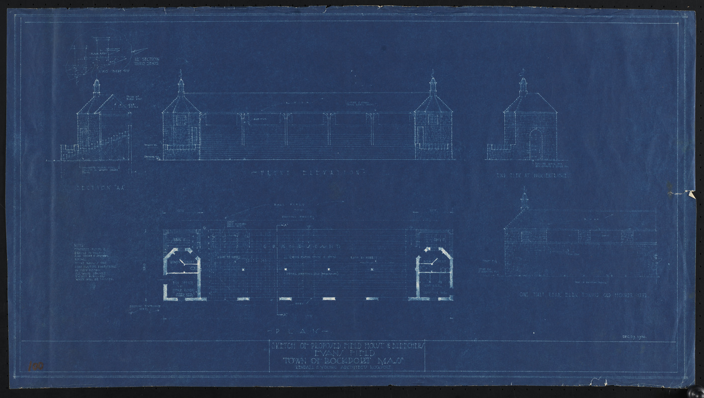 Sketch of proposed field house & bleechers, Evans Field, Town of Rockport, Mass.