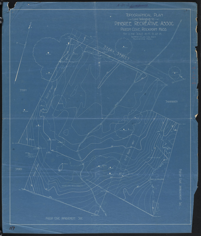 Topographical plan, land belonging to Pingree Recreative Assoc., Pigeon Cove, Rockport, Mass.