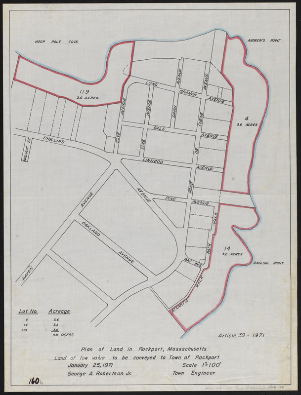 Plan of land in Rockport, Massachusetts,  land of low value to be conveyed to Town of Rockport