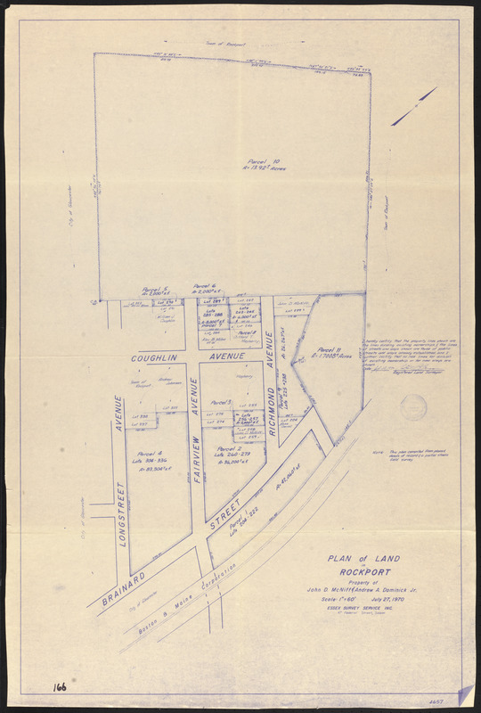 Plan of land in Rockport, property of John D. McNiff & Andrew A. Dominick Jr.
