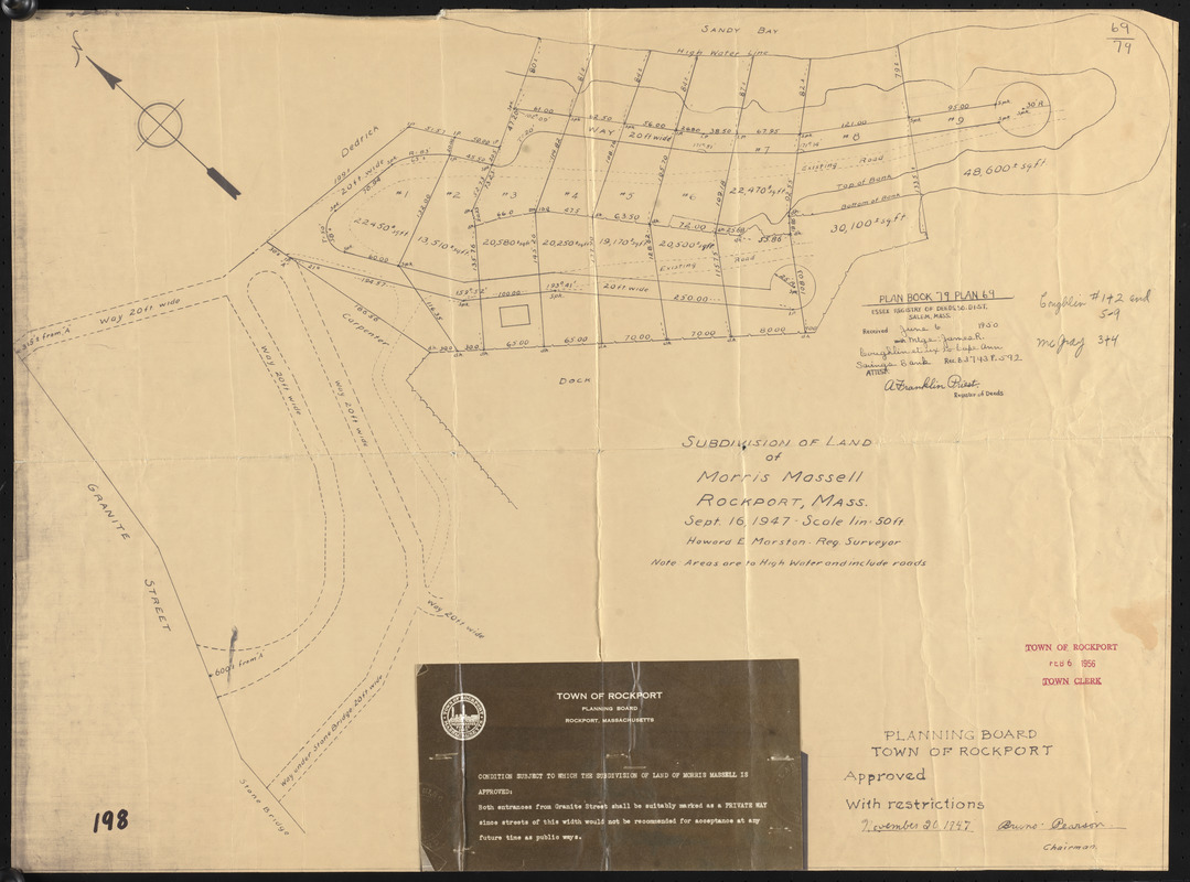 Subdivision of land of Morris Massell, Rockport, Mass.