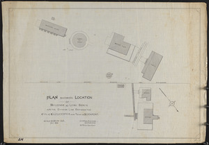 Plan showing location of buildings at Long Beach and the division line between the City of Gloucester and Town of Rockport