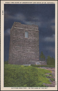 Night time scene of observatory and grave of Dr. Mitchell