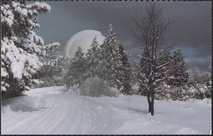 A winter's storm leaves its blanket of white on the landscape surrounding Palomar Observatory's 200 inch Hale telescope
