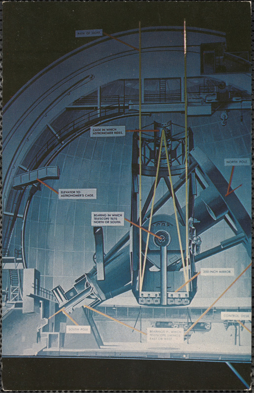 Interior view of Palomar Mountain Observatory, showing details of world's largest telescope