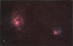 Lagoon and Trifid nebulae in the constellation of Sagittarius
