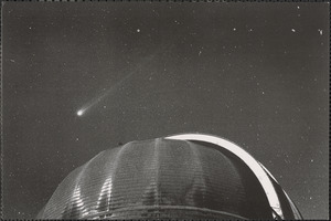 Comet Hyakutake photographed over the Yerkes Observatory 90-foot diameter dome in March 1996