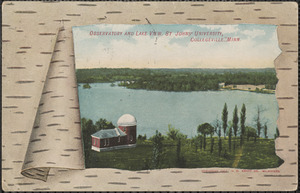 Observatory and lake view. St. John's University, Collegeville, Minn.