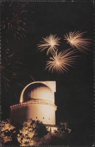 A fireworks display is staged near the 107-inch dome at the University of Texas McDonald Observatory