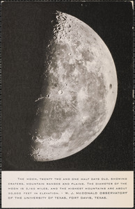 The moon, twenty two and one half days old, showing craters, mountain rangers and plains