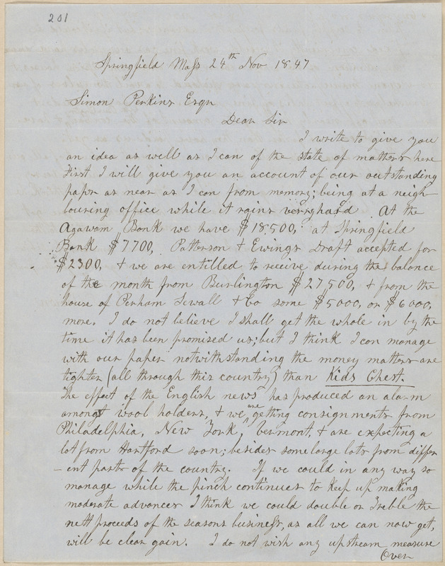 John Brown autograph letter signed to Simon Perkins, Springfield, Mass., 24 November 1847