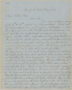 John Brown autograph letter signed to Simon Perkins, Springfield, Mass., 1 May 1849