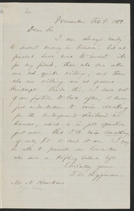 Thomas Wentworth Higginson autograph letter signed to [John Brown], Worcester, 8 February 1858