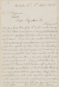 John Brown autograph letter signed to Thomas Wentworth Higginson, Rochester, N.Y., 12 February 1858