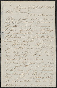 F. B. Sanborn autograph letter signed to [Thomas Wentworth Higginson], Concord, 19 February 1858