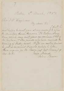 John Brown autograph note signed to Thomas Wentworth Higginson, Boston, 4 March 1858