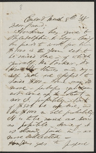 F. B. Sanborn autograph letter signed to [Thomas Wentworth Higginson], Concord, 8 March [18]58