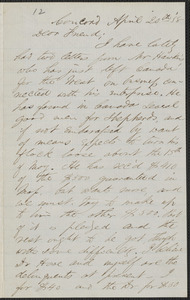 F. B. Sanborn autograph letter signed to [Thomas Wentworth Higginson], Concord, 20 April 1858