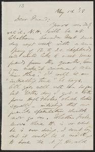 F. B. Sanborn autograph letter signed to [Thomas Wentworth Higginson], 1 May [18]58