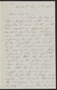 F. B. Sanborn autograph letter signed to [Thomas Wentworth Higginson], Concord, 5 May 1858