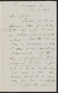 Thomas Wentworth Higginson autograph letter signed to John Brown, Brattleboro, Vt., 7 May 1858
