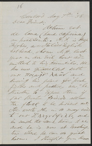 F. B. Sanborn autograph letter signed to [Thomas Wentworth Higginson], Concord, 7 May [18]58