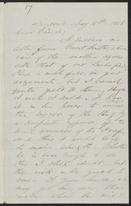 F. B. Sanborn autograph letter signed to [Thomas Wentworth Higginson], Concord, 11 May 1858