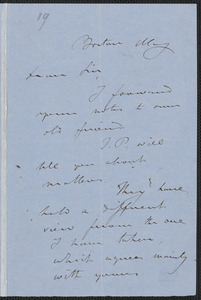S. G. Howe autograph letter signed to [Thomas Wentworth Higginson], Boston, May [1858]