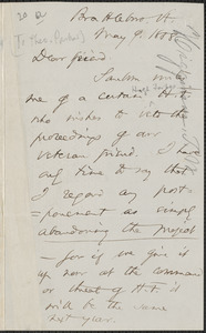 Thomas Wentworth Higginson autograph letter signed to [Theodore Parker], Brattleboro, Vt., 9 May 1858