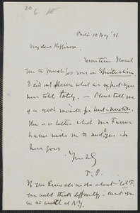 Theodore Parker autograph note signed to Thomas Wentworth Higginson, Boston, 10 May [18]58