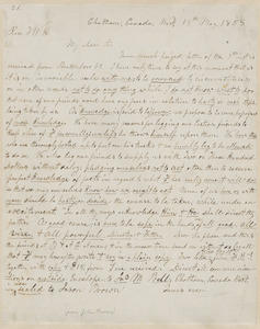 John Brown autograph letter to Thomas Wentworth Higginson, Chatham, Canada West., 14 May 1858