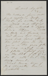 F. B. Sanborn autograph letter signed to [Thomas Wentworth Higginson], Concord, 18 May [18]58