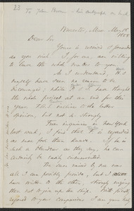 Thomas Wentworth Higginson autograph letter to [John Brown], Worcester, 18 May 1858