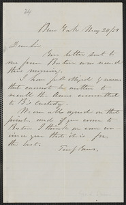 Geo. L. Stearns autograph letter to [Thomas Wentworth Higginson], New York, 21 May [18]58