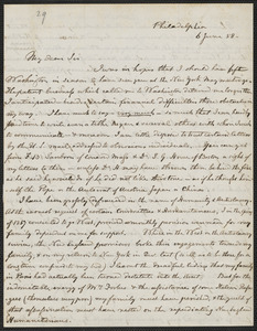 Hugh Forbes autograph letter signed to Thomas Wentworth Higginson, Philadelphia, 6 June [18]58