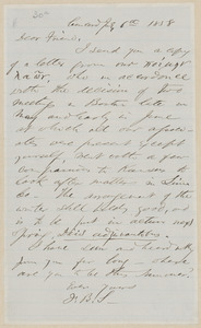 F. B. Sanborn autograph letter signed to [Thomas Wentworth Higginson], Concord, 6 July 1858