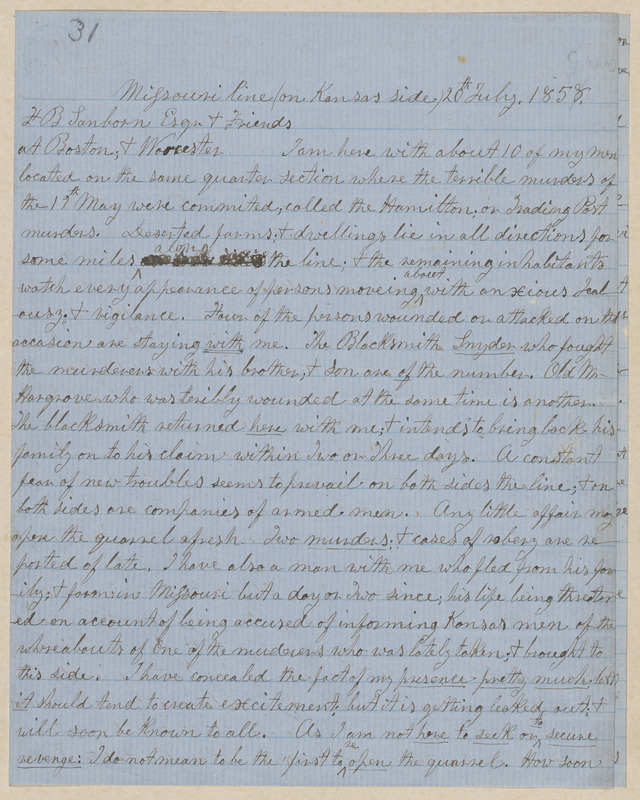 John Brown autograph letter signed to Franklin Benjamin Sanborn, Missouri Line, 20 & 30 July, 6 August 1858