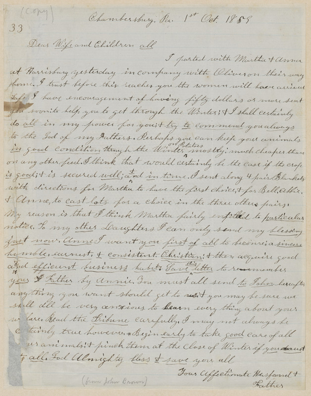 "John Brown autograph letter signed to ""Dear Wife and Children All"", Chambersburg, PA, 1 October 1859"