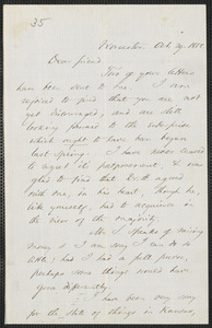 Thomas Wentworth Higginson autograph letter signed to John Brown, Worcester, 29 October 1858