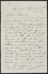F. B. Sanborn autograph letter signed to [Thomas Wentworth Higginson], Concord, 19 April 1859