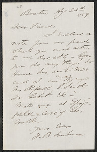 F. B. Sanborn autograph letter signed to [Thomas Wentworth Higginson], Boston, 24 August 1859