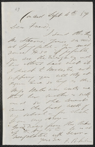 F. B. Sanborn autograph letter signed to [Thomas Wentworth Higginson], Concord, 4 September [18]59