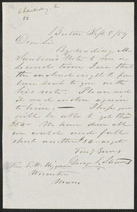 Geo. L. Stearns autograph letter signed to Thomas Wentworth Higginson, Boston, 8 September [18]59