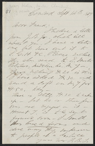 F. B. Sanborn autograph letter signed to [Thomas Wentworth Higginson], Concord, 14 September 1859