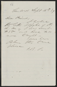 F. B. Sanborn autograph note signed to [Thomas Wentworth Higginson], Concord, 14 September [18]59