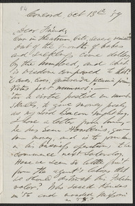 F. B. Sanborn autograph letter signed to [Thomas Wentworth Higginson], Concord, 13 October [18]59