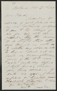 F. B. Sanborn autograph letter to [Thomas Wentworth Higginson], Portland [Maine], 21 October 1859